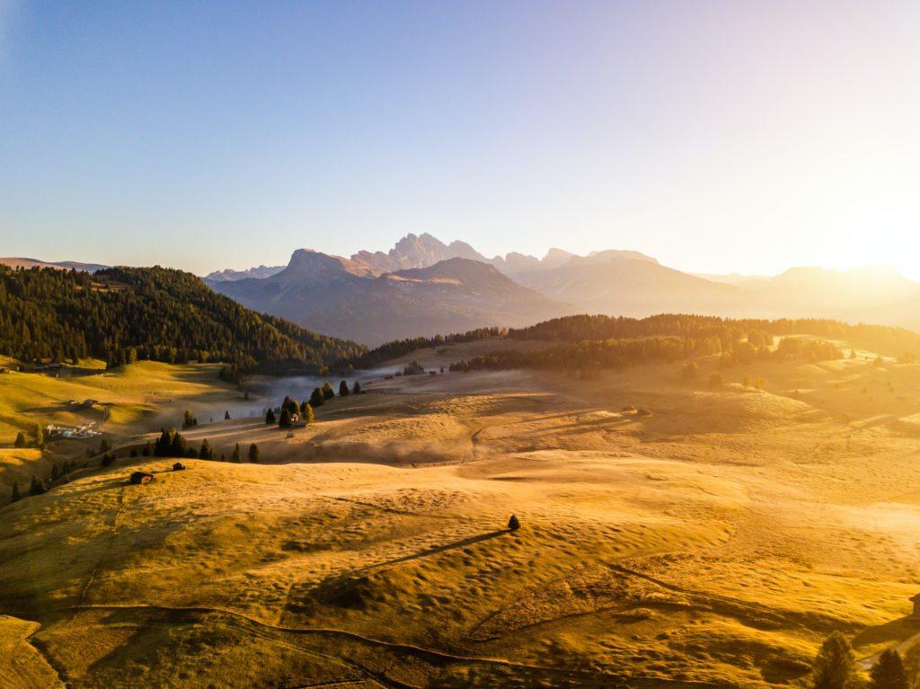 Amazing view of the Alpine mountains. Alpe di Siusi, Dolomites. Italy